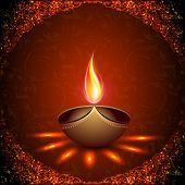 Beautiful illuminating Diya background for Hindu community festival Diwali or Deepawali in India. EP