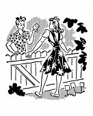 foto of homemaker  - Neighbors Chatting Over Fence  - JPG
