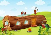 image of fire ant  - illustration of ants and beautiful wooden house - JPG