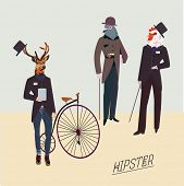 Retro animals hipster like