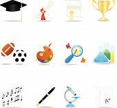 picture of graduation cap  - Icon set with school symbols for web - JPG
