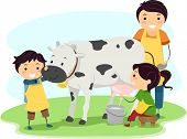 stock photo of milkmaid  - Illustration of Kids Happily Milking a Cow - JPG