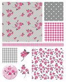 Pretty Shabby Chic Floral Vector Seamless Patterns and Icons.  Use to create digital paper for scrap