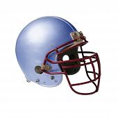 foto of football helmet  - isolated metalic blue football helmet on white background - JPG