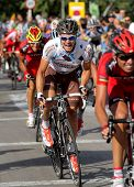 BARCELONA - AUG 26: AG2R La Mondiale Irish cyclist Nicolas Roche rides with the pack during the Vuel