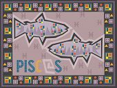 stock photo of pisces horoscope icon  - Stylized Zodiac backgrounds series - JPG