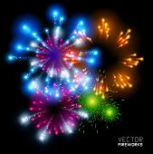 stock photo of firework display  - Beautiful Vector Fireworks - JPG