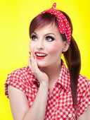 picture of rockabilly  - Cheerful pin up girl  - JPG