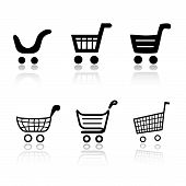 stock photo of cart  - Set of 6 shopping cart icon variations - JPG