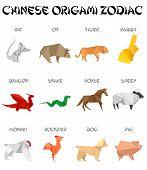 Постер, плакат: набор знаков китайского зодиака оригами стиль внешнего вида