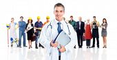 Doctor and a group of workers people. Isolated on white background.