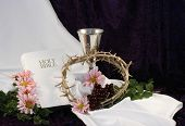 pic of he is risen  - white bible chalice crown of thorns flowers with room for copy - JPG