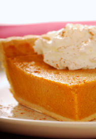 image of pumpkin pie  - Slice of pumpkin pie with whipped cream  - JPG