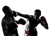 foto of boxing  - two caucasian  men exercising thai boxing in silhouette studio  on white background - JPG