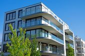 stock photo of highrises  - A luxury apartment house seen in the heart of Berlin - JPG