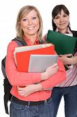 image of bagpack  - photo of casual students isolated over white background - JPG