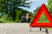 stock photo of breakdown  - A car with a breakdown alongside the road - JPG