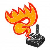cartoon flaming joystick