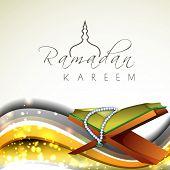 stock photo of islamic religious holy book  - Open Islamic religious holy book Quran shareef on shiny waves background for Ramadan Kareem - JPG