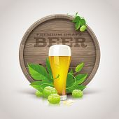 foto of hop-plant  - Still life with wooden cask - JPG