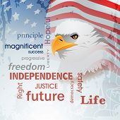 4th of July, American Independence Day background with national bird eagle on waving flag background