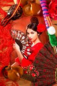 foto of castanets  - Flamenco woman with bullfighter and typical Spain Espana elements like castanets fan and comb - JPG