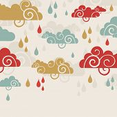 image of rainy season  - Creative rainy season background with clouds and raindrops - JPG