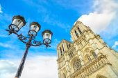 Notre Dame De Paris Cathedral On Ile Cite Island And Street Lamp. Paris, France