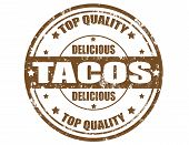 picture of tacos  - Grunge rubber stamp with word tacos inside vector illustration - JPG