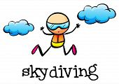 picture of stickman  - Illustration of a stickman skydiving on a white background - JPG