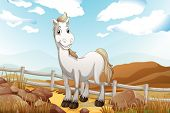 stock photo of wooden horse  - Illustration of a white horse near the wooden fence - JPG