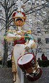 Wooden soldier drummer Christmas decoration at the Rockefeller Center in Midtown Manhattan