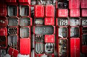 stock photo of fuse-box  - Old Rusty Industrial Fuse Cabinet close up - JPG