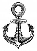 picture of lithographic  - Vintage style anchor illustration in a woodblock or woodcut style - JPG