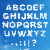 stock photo of symbol punctuation  - British alphabet made of clouds and punctuation - JPG