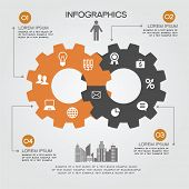 foto of intersection  - Intersecting gears and icons Business and Technology - JPG