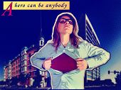 foto of ordinary woman  - a nerdy girl in the role of a super hero - JPG