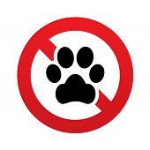 Постер, плакат: Никакая икона лапы собаки Символ домашних животных Знак запрета