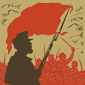 Armed Man With A Red Flag On A Background Of Revolution