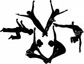 picture of aerialist  - acrobats gymnasts athlete agility isolated teamwork security - JPG