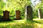 Old Tombstones At Church Yard At Midsummer