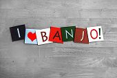 stock photo of banjo  - I Love Banjo - JPG