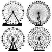 pic of amusement  - Set of vector silhouettes Ferris Wheel from amusement park - JPG