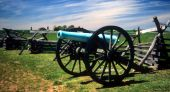 picture of yanks  - Napoleon 12 lb cannon near Peach Orchard Gettysburg National Historical Battlefield Pennsylvania - JPG
