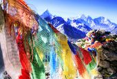 stock photo of mantra  - Prayer Flags with Mantras - JPG