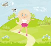 stock photo of mosquito repellent  - girl runs away from mosquitoes  - JPG