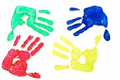 picture of dna fingerprinting  - Detail imprint blue red green and yellow hand on a white background - JPG