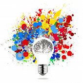 stock photo of stippling  - Creativity 3d metal human brain in visible light bulb with splash colors background as concept - JPG