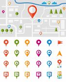 image of intersection  - City map with a large set of colorful pin pointers each showing a different vector infographic urban location  utility or service icon  with the pointers isolated on white - JPG