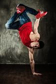 stock photo of break-dance  - Man dancer showing break - JPG